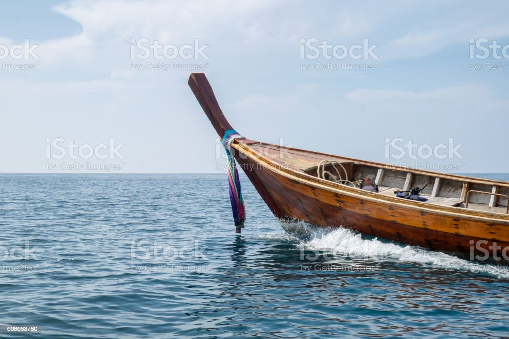 Long Tail Wooden Boat Sail On Sea Royalty Free Stock Photo