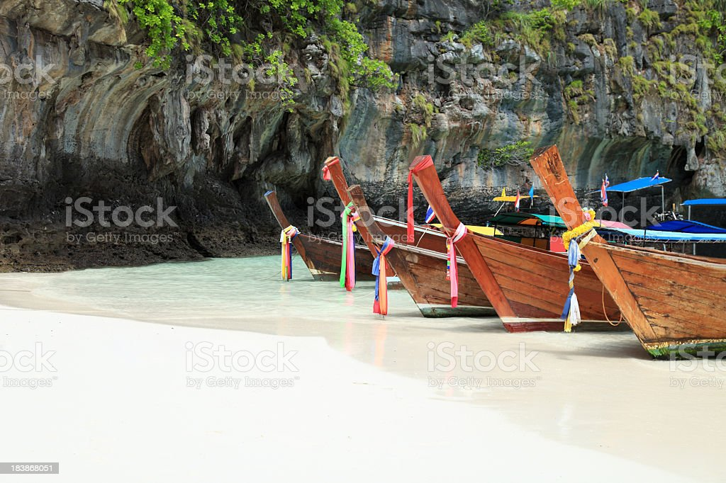 Long tail wooden boats on the beach royalty-free stock photo