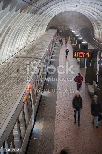 A Metro train prepares to depart the Bethesda Metro Station in Bethesda, Maryland.