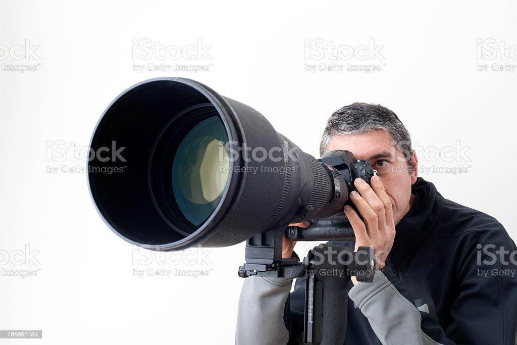 Long telephoto lens stock photo