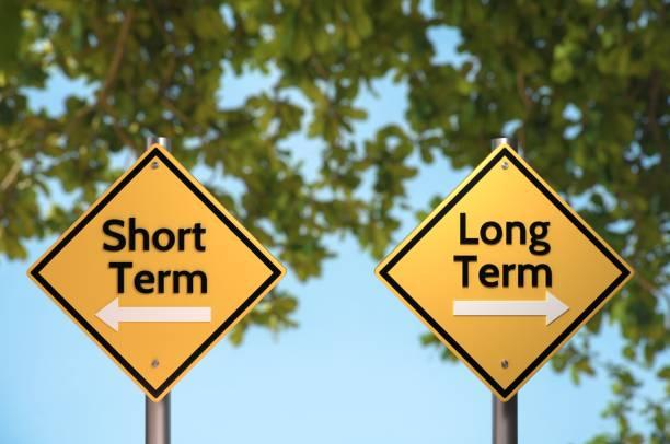 long term or short term? - текст стоковые фото и изображения