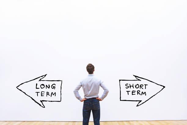 long term vs short term - текст стоковые фото и изображения