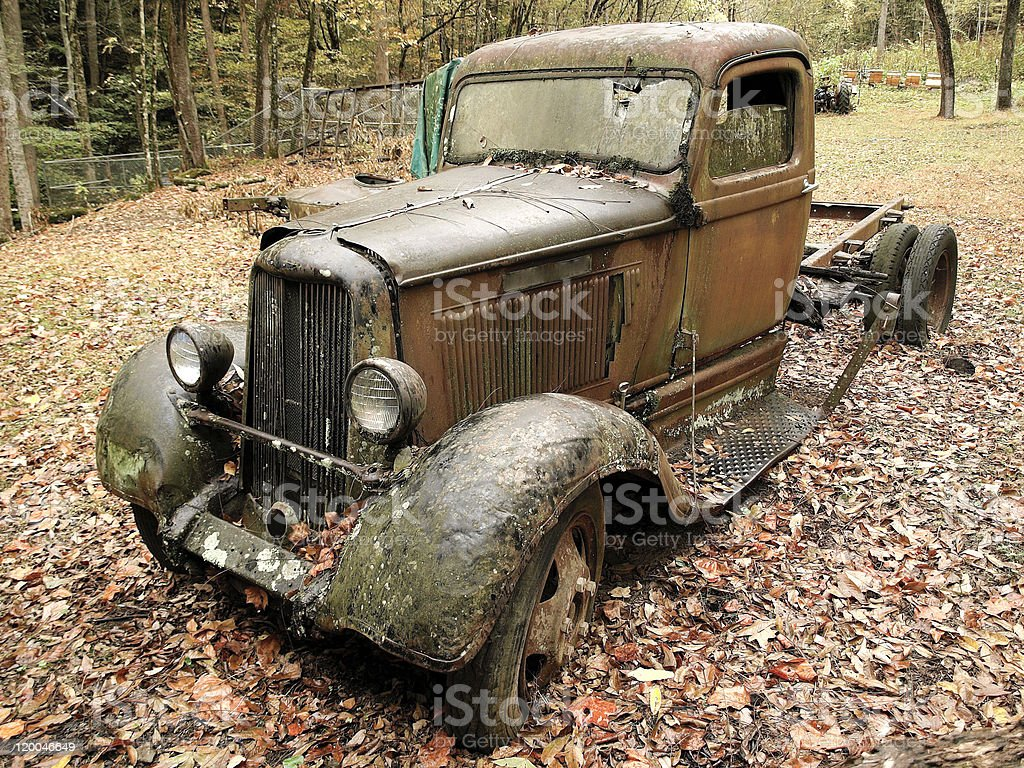 Long time ago - this car was in operation stock photo