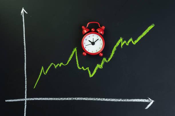 長い時間の投資、危機の概念の後に株式市場や株式の回復のための長期的な上昇傾向、暗い黒い黒板に小さな赤い目覚まし時計と緑色のラインチャートを変動 ストックフォト
