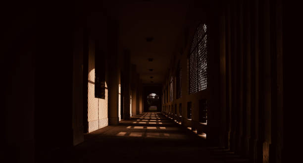 Long traditional corridor of a building stock photo