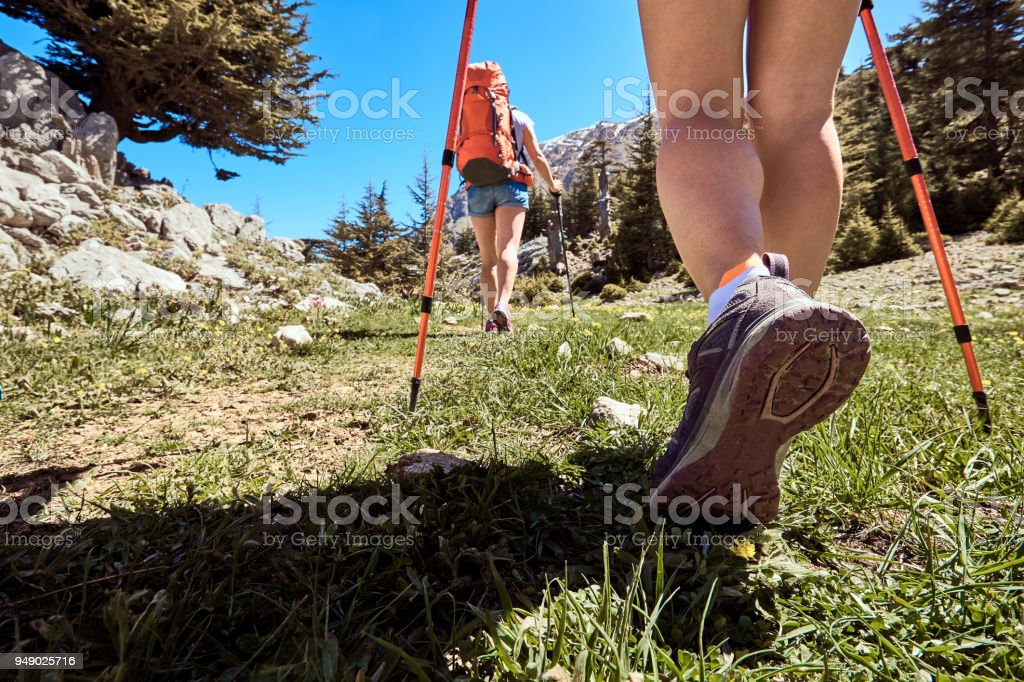 Long trip to the top of the mountain in the summer. stock photo