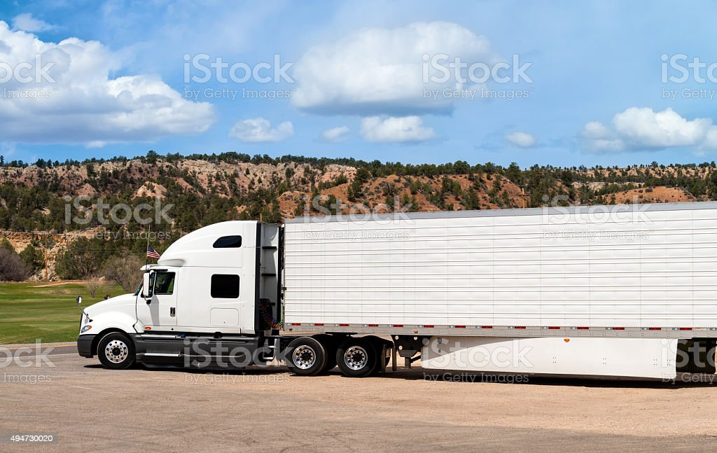 Long truck parked stock photo