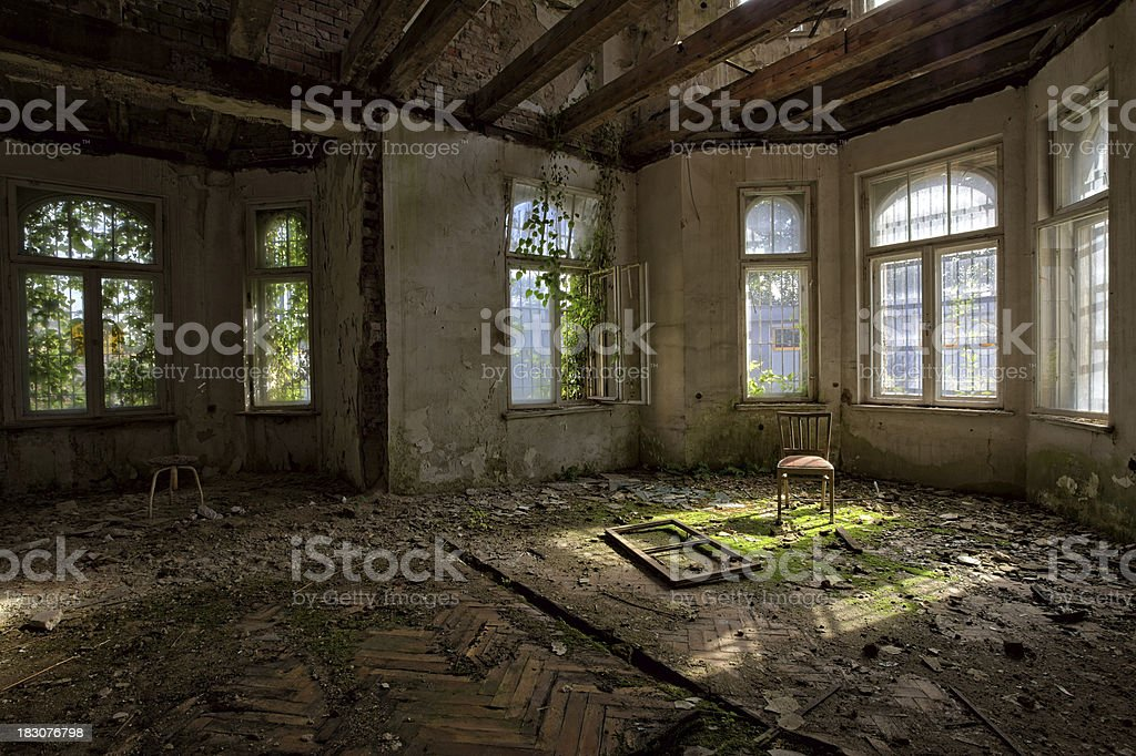 Long uninhabited antique decadent palace home stock photo