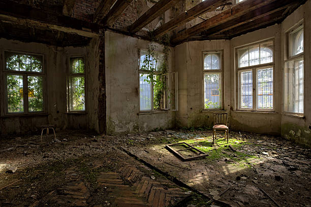 long uninhabited antique decadent palace home - abandoned stock photos and pictures