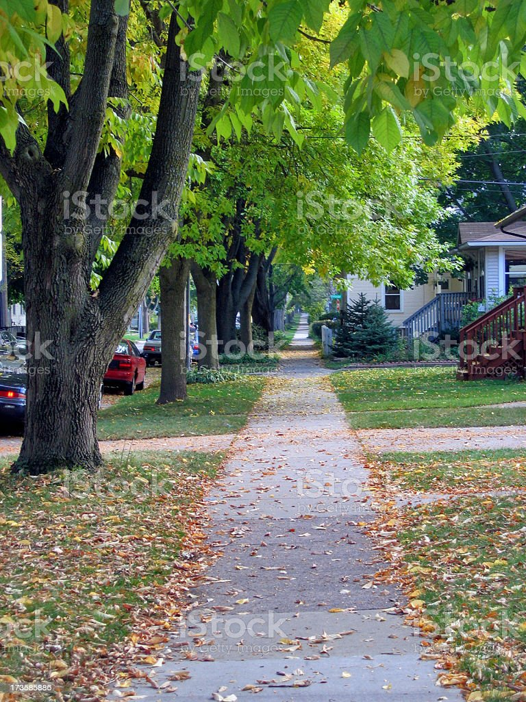 Long Urban Sidewalk royalty-free stock photo