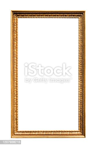 long vertical narrow vintage wooden picture frame with cutout canvas isolated on white background