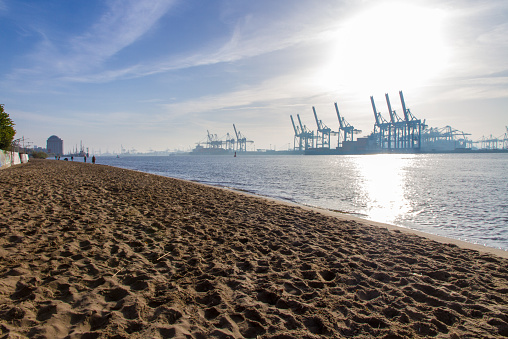 Long view of Elbe und Container Hafen in Hamburg
