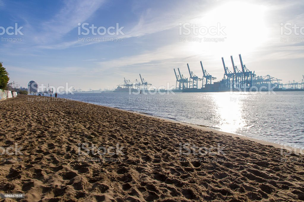 Long view of Elbe und Container Hafen in Hamburg stock photo
