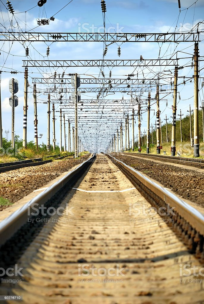 Long view of railway with heat haze royalty-free stock photo