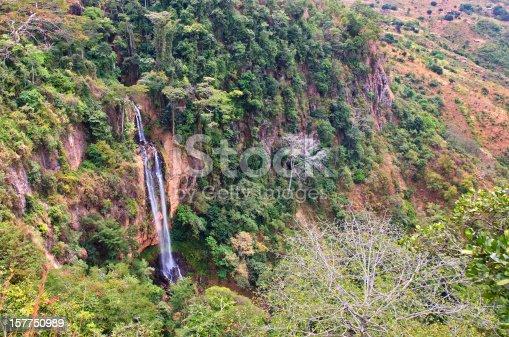 istock Long waterfall in the Jungle 157750989