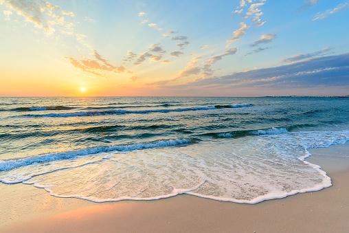 Long wave on the coast, dawn on the sea, Tunisia