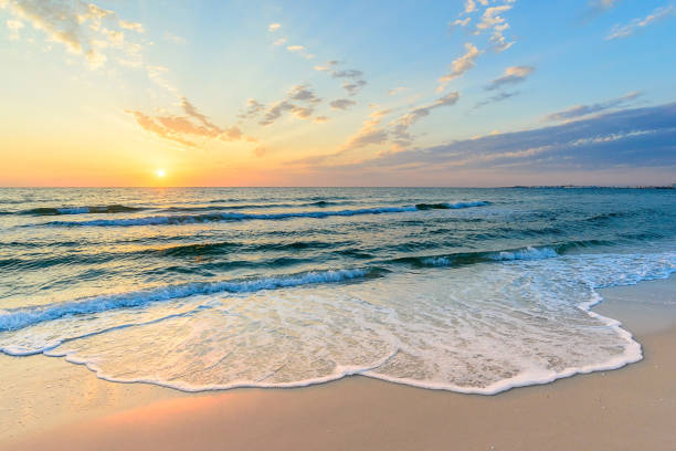 larga ola en la costa, amanecer en el mar, túnez - playa fotografías e imágenes de stock