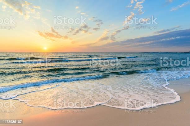 Photo of Long wave on the coast, dawn on the sea, Tunisia