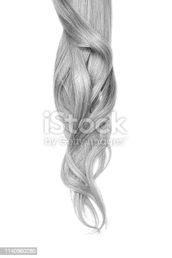 Long wavy gray hair isolated on white background