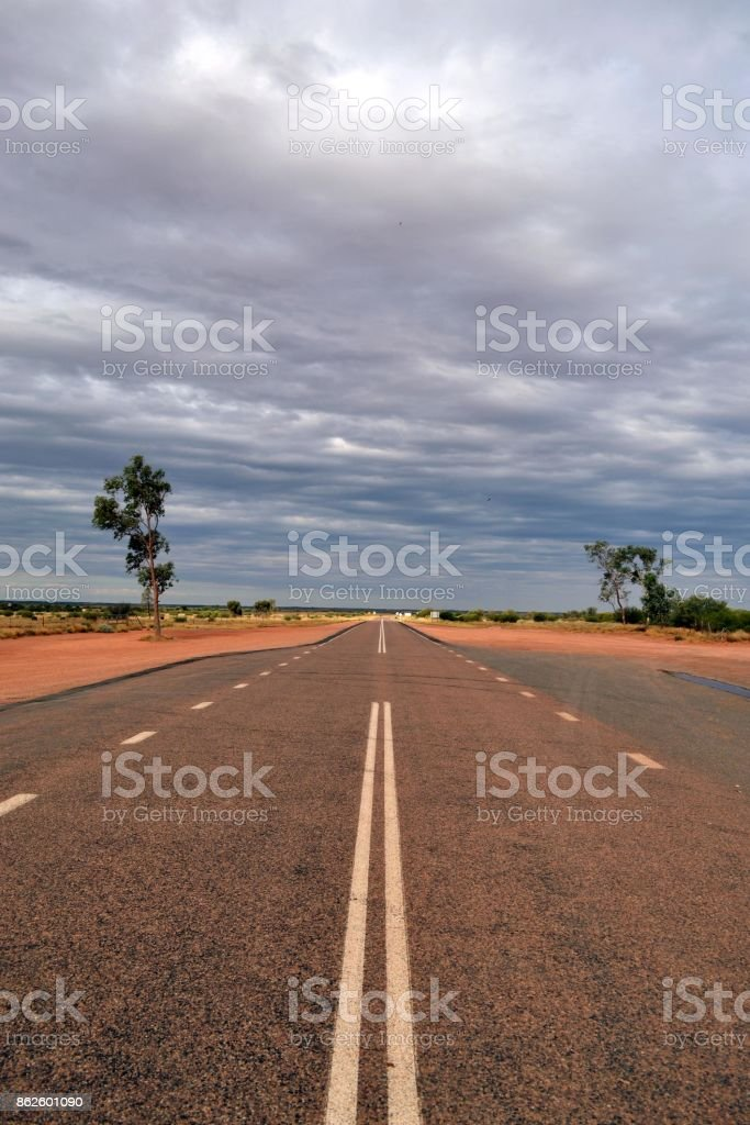 A (very) long way to the Red Centre, Central Australia stock photo