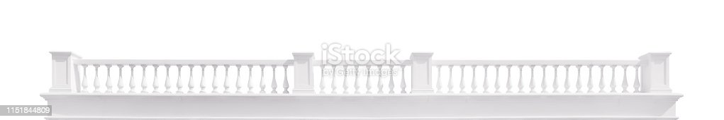 Long white stone baroque stile balustrade. Isolated on white, clipping path included
