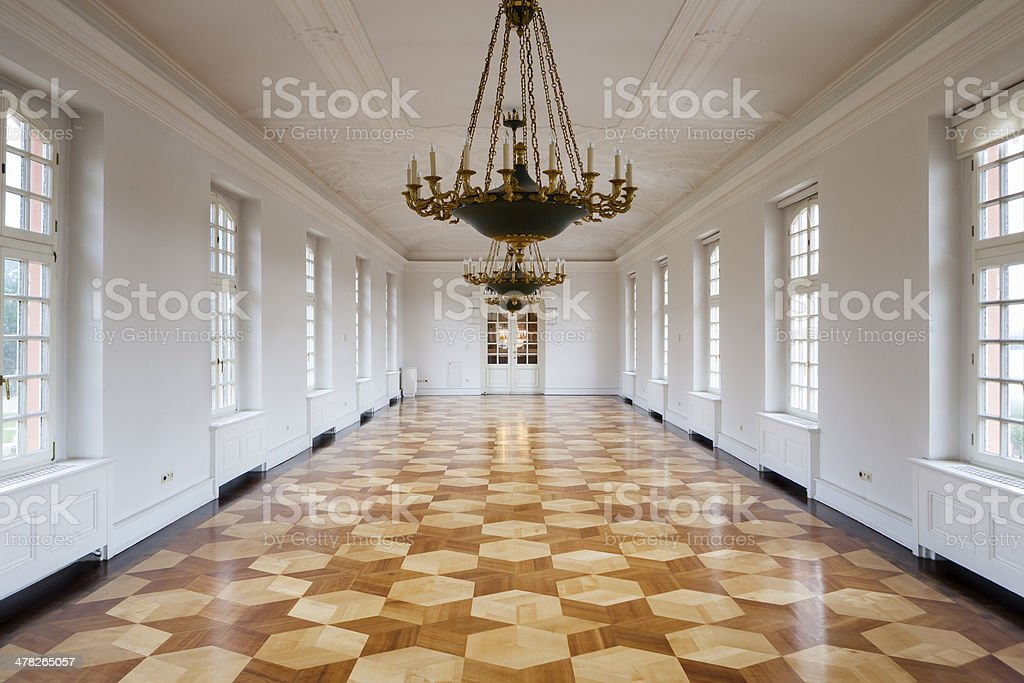 Long white corridor stock photo