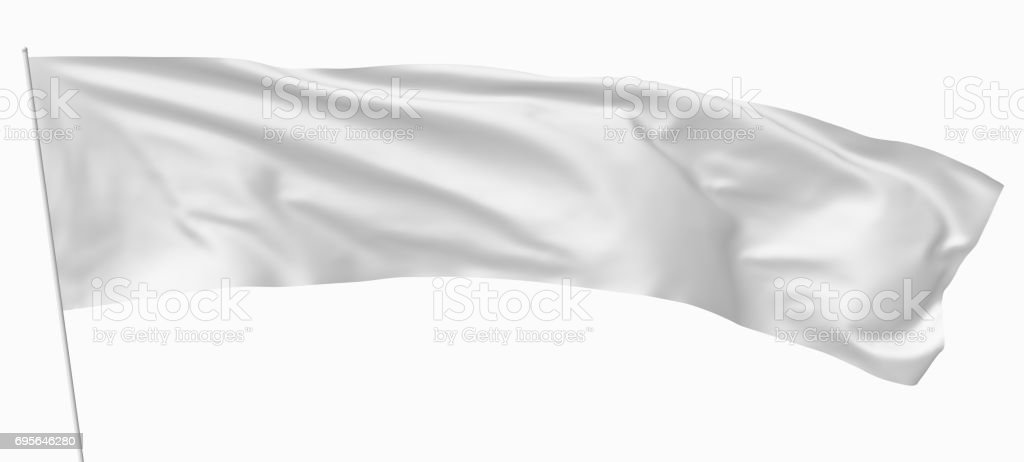 Long white flag on flagpole stock photo