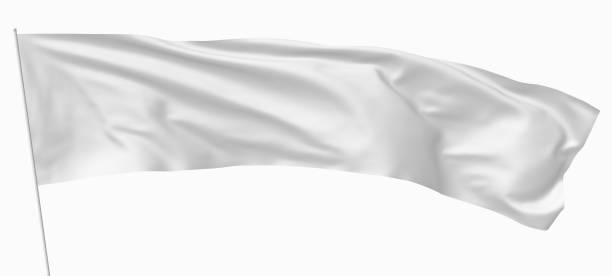 旗竿に長い白い旗 ストックフォト