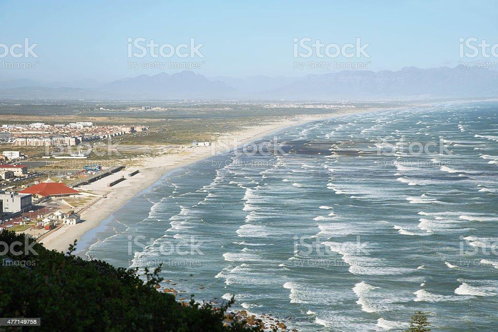 Long white sand beach near Muizenberg stock photo