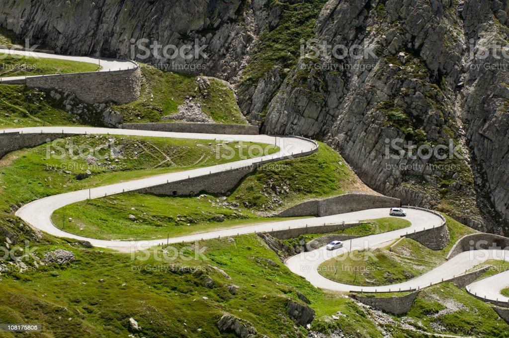 Long Winding Road Through Mountains stock photo