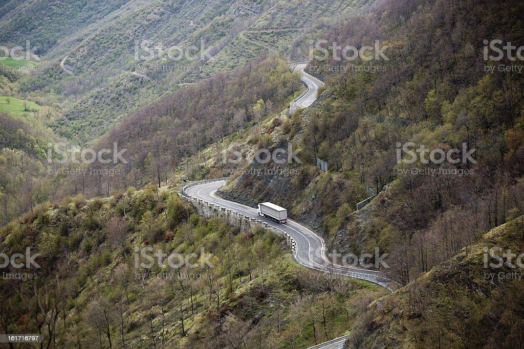 Long Winding Road Through Mountains stock photo