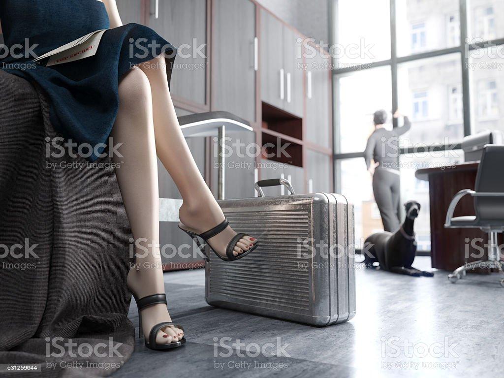 Long Woman Legs with metal case, top secret concept stock photo