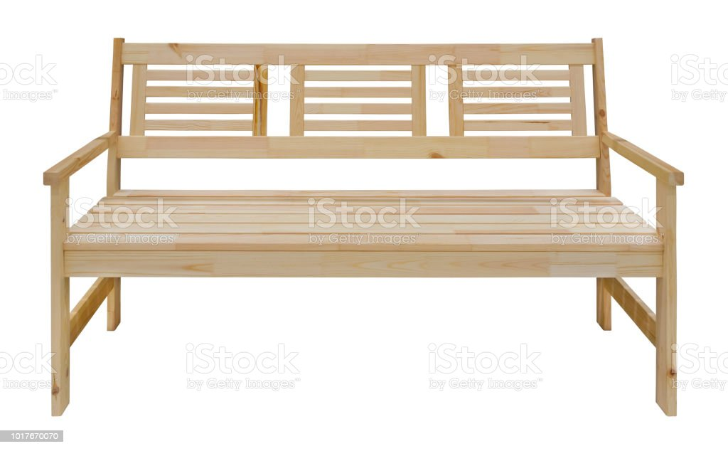 Strange Long Wooden Bench With Backrest Isolated On A White Onthecornerstone Fun Painted Chair Ideas Images Onthecornerstoneorg