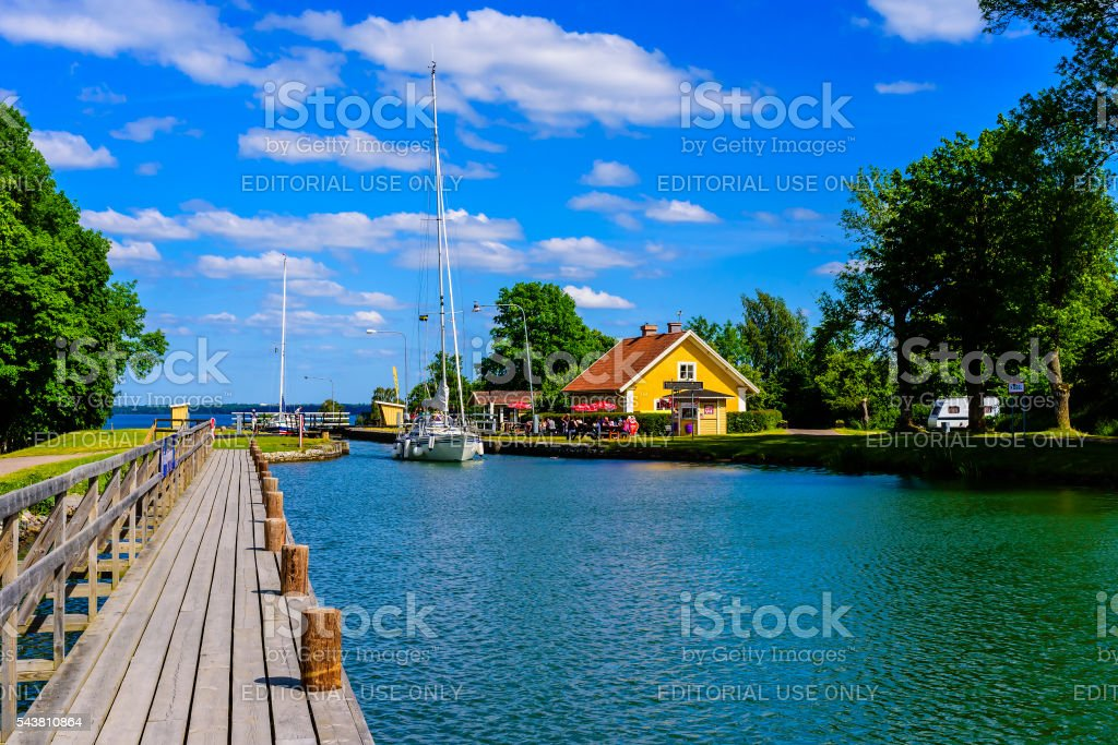 Long wooden pier stock photo
