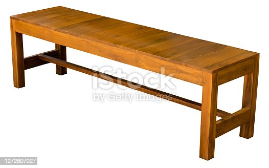 Isolate wooden chair with a long rectangular wooden frame with a polished wooden pattern.