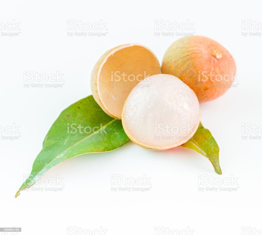 Longan fruit on white background. stock photo