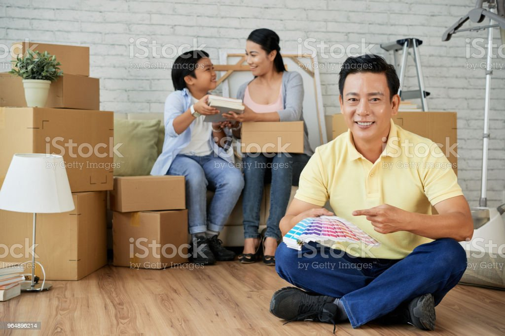 Long-Awaited Relocation in New Apartment royalty-free stock photo