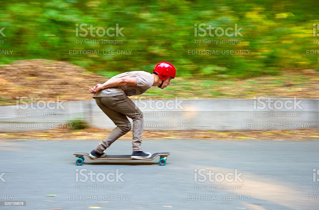 Longboard Downhill stock photo