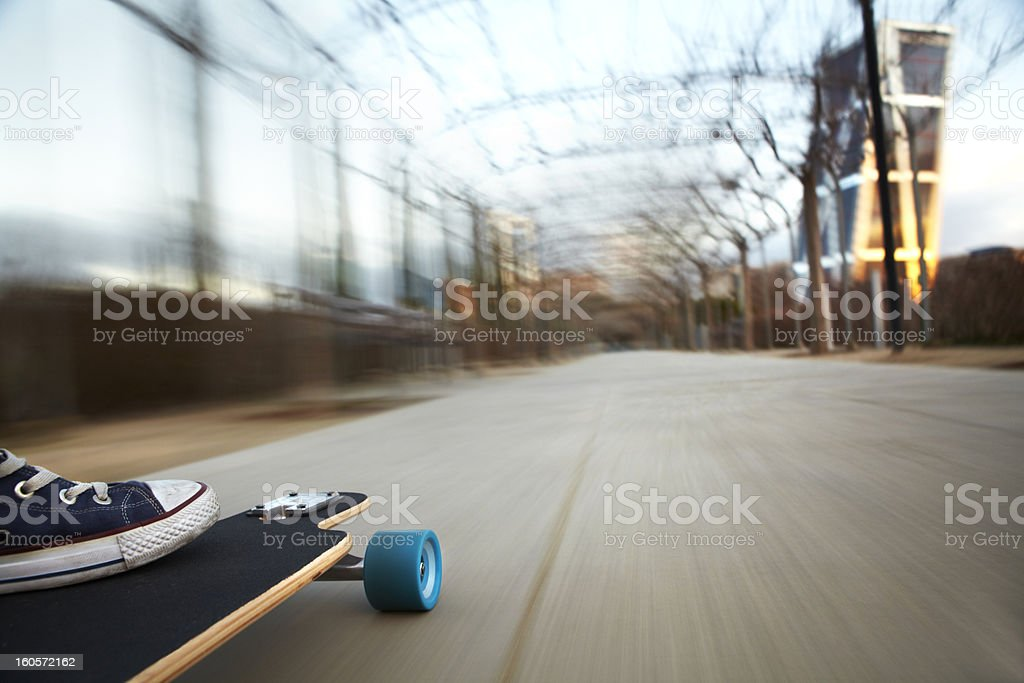 Longboard moving stock photo