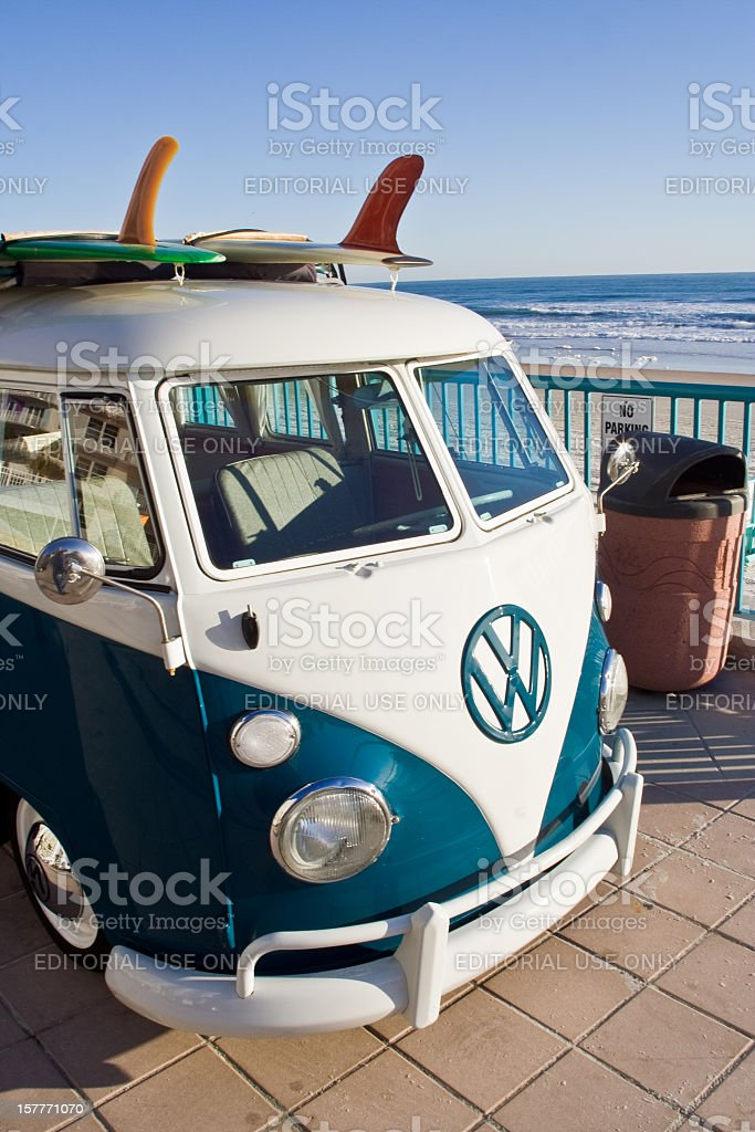 Longboard on VW Van stock photo