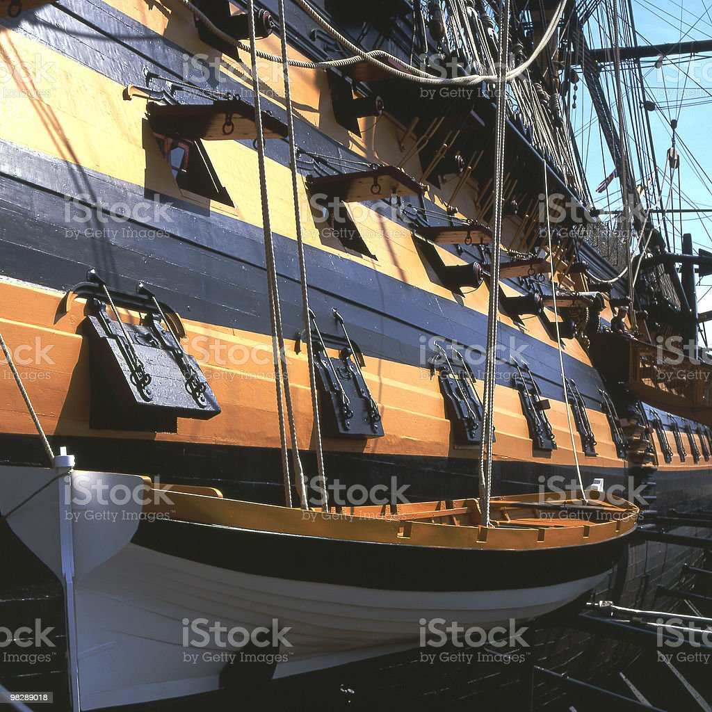 Longboat on side of HMS Victory at Portsmouth, Hampshire, England royalty-free stock photo