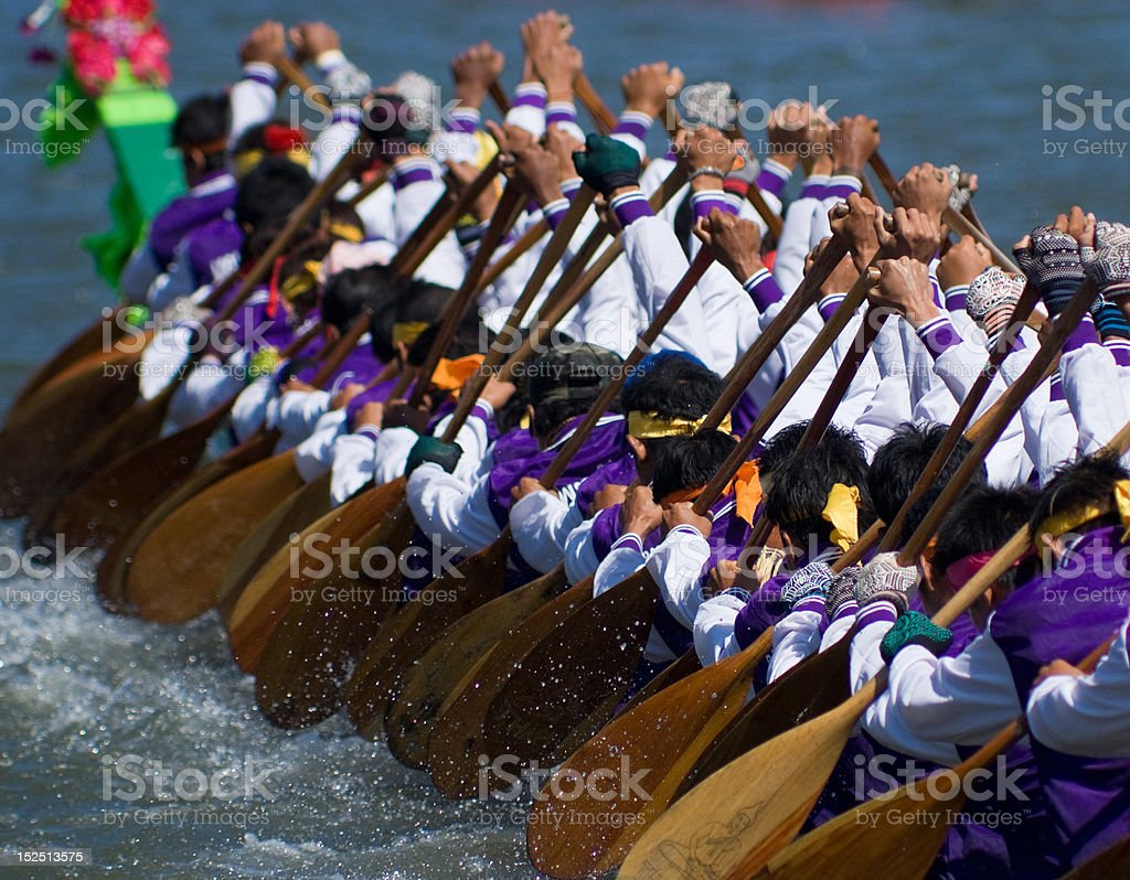Longboat racing in Thailand royalty-free stock photo