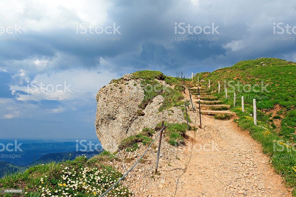 E5 -  long-distance hiking route over the Alps stock photo
