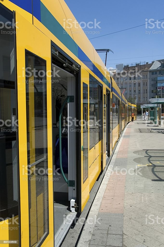 Longest articulated tram royalty-free stock photo