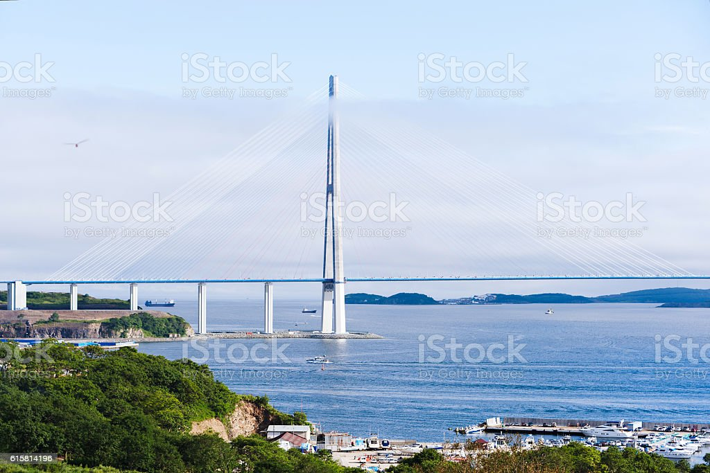 Longest cable-stayed bridge in the world stock photo