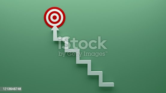 938669816 istock photo Longest light ladder glowing and aiming high to goal target among other short ladders on green background with shadows . 3D rendering.Stand out from the crowd and think different creative idea concept 1213646748