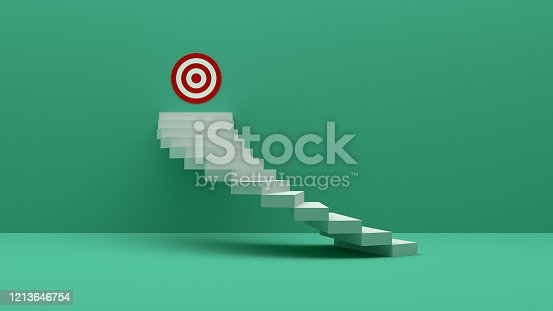 938669816 istock photo Longest light ladder glowing and aiming high to goal target among other short ladders on green background with shadows . 3D rendering.Stand out from the crowd and think different creative idea concept 1213646754