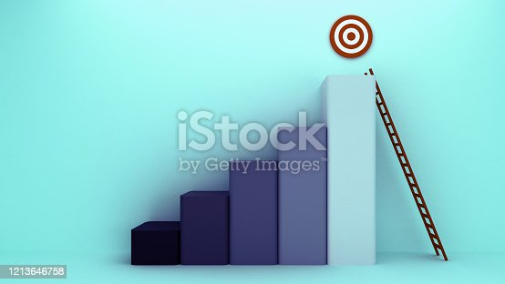 938669816 istock photo Longest light ladder glowing and aiming high to goal target among other short ladders on green background with shadows . 3D rendering.Stand out from the crowd and think different creative idea concept 1213646758
