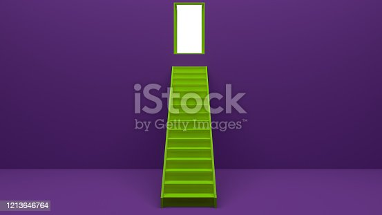 938669816 istock photo Longest light ladder glowing and aiming high to goal target among other short ladders on green background with shadows . 3D rendering.Stand out from the crowd and think different creative idea concept 1213646764