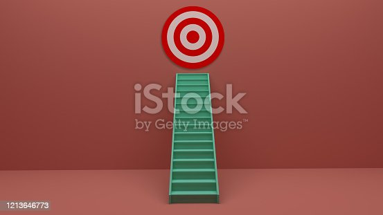 938669816 istock photo Longest light ladder glowing and aiming high to goal target among other short ladders on green background with shadows . 3D rendering.Stand out from the crowd and think different creative idea concept 1213646773
